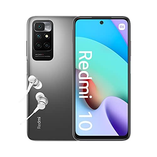 """Xiaomi Redmi 10 - Smartphone 4+64 GB, 6,5"""" FHD+ 90 Hz DotDisplay, MediaTek℗ Helio G88, 50MP cámara cuádruple con IA, 5000 mAh, Gris Carbón (Versión ES+ 2 años de garantía)"""