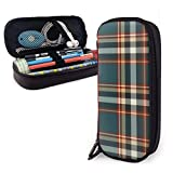 Verde azulado Negro y rojo Maletín de cuero a cuadros masculinos Estuche para lápices Estuche para bolígrafos con cremallera Útiles escolares Estuche de papelería de gran capacidad