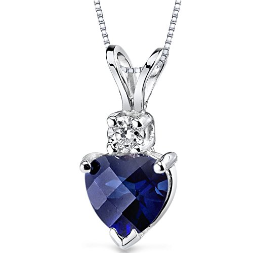 Peora Created Blue Sapphire with Genuine Diamond Pendant in...