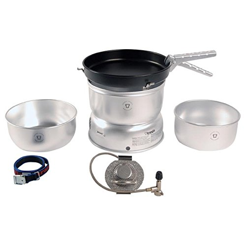 Trangia - 25-3 Ultralight Camping Cookset | Includes: Gas Stove, 2 Pots, 1 Frypan, Upper & Lower Windshields, Pot Gripper, & Strap