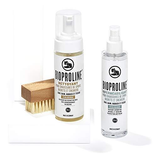 BIOPROLINE Kit sneaker ECOLOGIQUE et CERTIFIÉ. Pour nettoyer et protéger vos baskets et sneakers en cuir, daim, toile et nubuck. Fabriqué en Allemagne