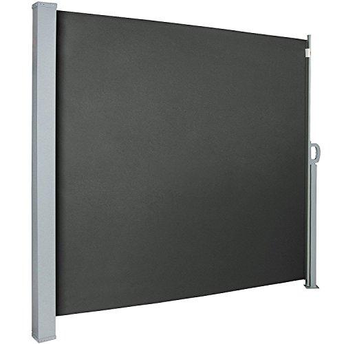 MCTECH® Seitenmarkise Zertifiziert Sonnenschutz Sichtschutz Windschutz Terrasse Markise Polyester (1.6 * 3m, Anthrazit)