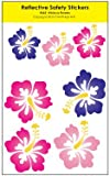Hibiscus Flower Reflective Decals - For Helmets, Bikes, Wheelchairs, Car Bumpers & Windows - Weatherproof & UV Resistant - Indoor & Outdoor Use - 1.5 x 1.5 Inches & 1 x 1 Inches (7 Decals)