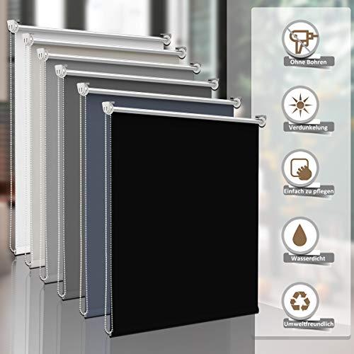 Sanfree Verdunkelungsrollo Thermorollo ohne Bohren, Klemmfix Fensterrollo Sichtschutz Klemmrollo, verstellbare Klemmträger Rollo Hitzeschutz mit Silberbeschichtung,Schwarz 75x150cm (BxH)