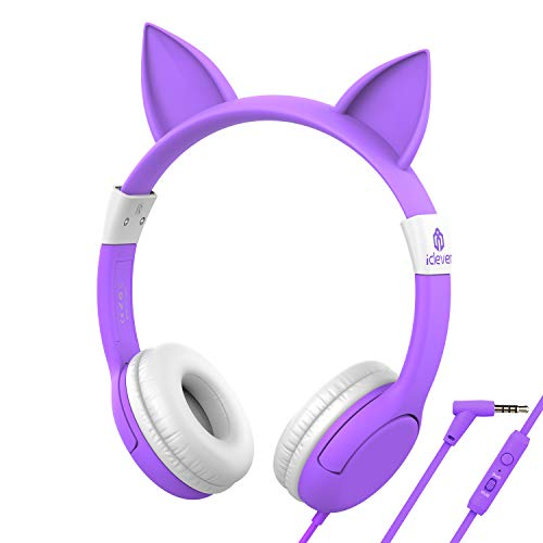 iClever Kids Headphones with Mic for Girls Gifts, Cat Ear Hello Kitty Wired Headphone for Children on Ear,Adjustable 85/94dB Volume Control,Headsets with Microphone for Kindle/Tablet Purple