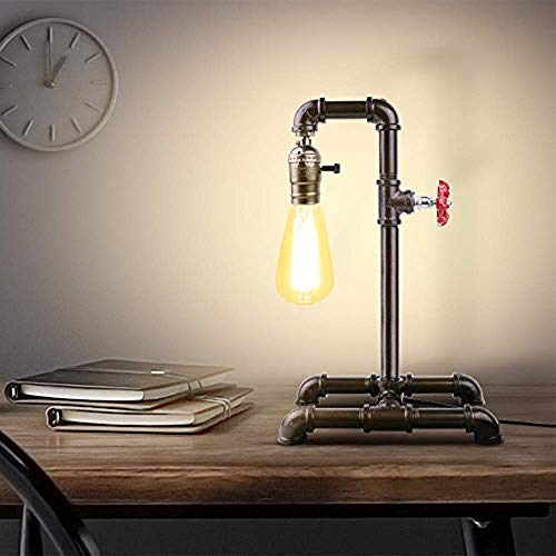 BRIGHTER Edison Desk Lamp, Industrial Table Lamp, Steampunk Wrought Iron Pipe Lamp(Not Included Bulb)