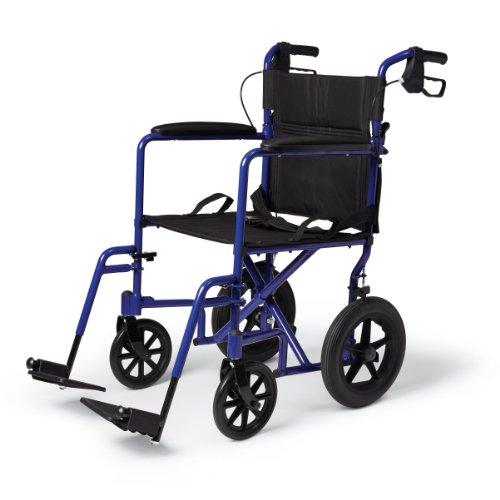 Medline Lightweight Transport Wheelchair with Handbrakes, Folding Transport Chair for...