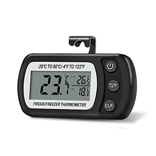 Thlevel Termometro Frigorifero Termometro Digitale per Frigorifero Congelatore Impermeabile con Gancio, Display LCD, Funzione Max/Min (Nero)