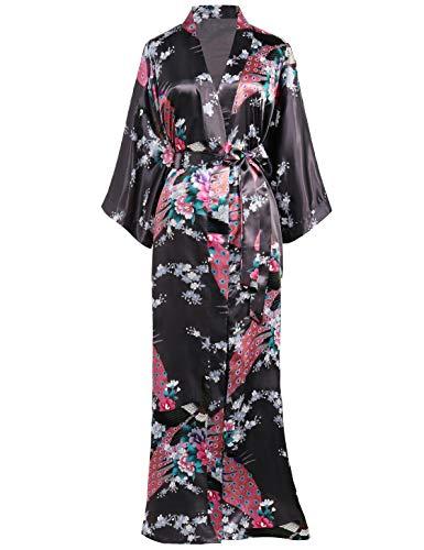 BABEYOND Damen Morgenmantel Maxi Lang Kimono Strandkleid Pfau Gedruckt Strickjacke Kimono Bademantel Damen Lange Robe Schlafmantel Girl Pajama Party (Kaffee)