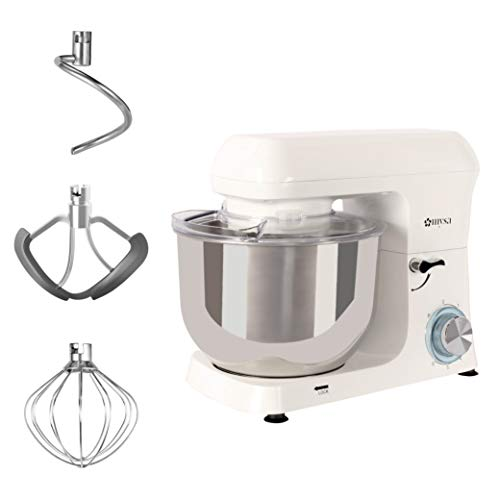 MYSA SM-1516 Stand Mixer Food Mixer Heavy Duty Die Cast Aluminium Body with Splash Guard 5.5 Litres SS Bowl, 6 Speed with 1400 W Power for Baking and Cooking, Dough Hook, Wire Whisk and Beater, White