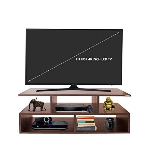 Klaxon Vector Wooden TV Stand (Matte Finish, Walnut)