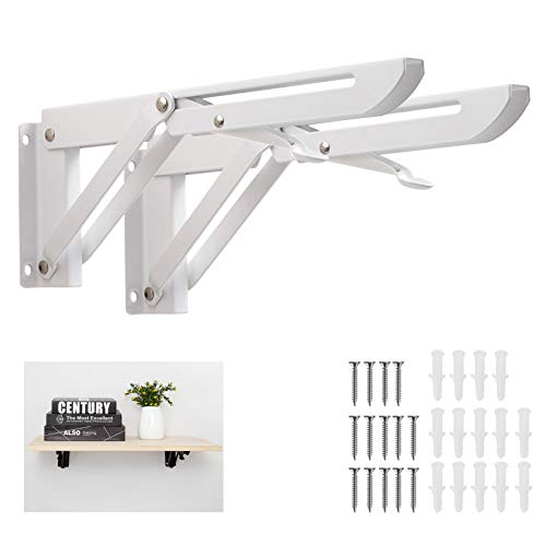 Huinsh Folding Shelf Brackets Heavy Duty Stainless Steel 16 Inch 2 Pcs Collapsible Wall Mounted Shelf Bracket for Bench Table Max Load: 150 lb (White)