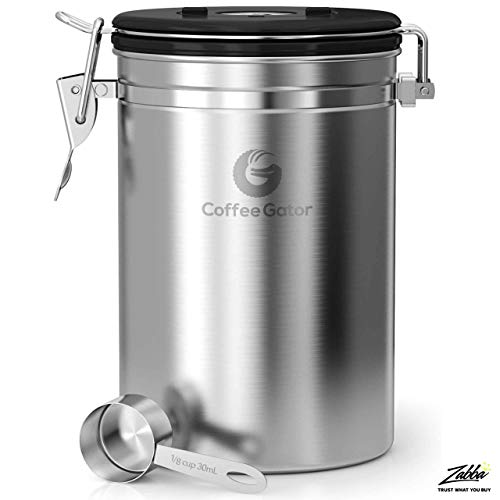Product Image 9: Coffee Gator Stainless Steel Coffee Grounds and Beans Container Canister with Date-Tracker, CO2-Release Valve and Measuring Scoop, Large, Silver