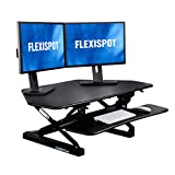 FlexiSpot Standing Desk Converter 41 Inch Height Adjustable Stand Up Desk Riser for Cubicles Corners Home Office Workstation Fit Dual Monitors (M4B)