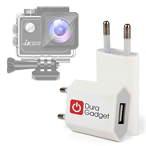DURAGADGET Caricatore da Muro USB per Action Cam Panlelo V6, Panlelo V5, Hawkeye Firefly Micro, Hawkeye Firefly 8SE