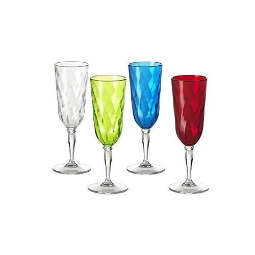 Omada Design Set di 4 Bicchieri da Champagne in plastica, 17,5 cl, Ideali per Aperitivi o Brindisi, Lavabili in Lavastoviglie, Made in Italy, Effetto Diamante, Linea Diamond,