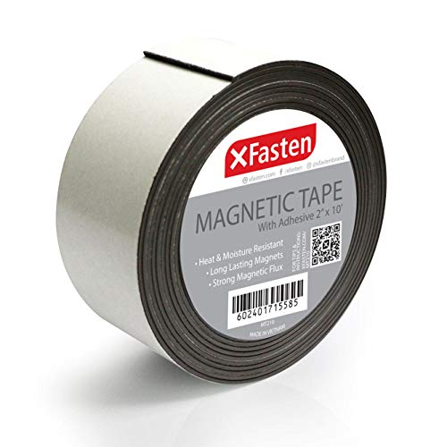 XFasten Flexible Strong Magnetic Tape, 2-Inch x 10-Foot Magnetic Tape with Strong Self Adhesive - Great Craft Magnets for DIY Projects and Photo - Sticky Magnetic Sheets
