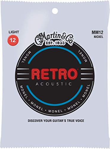 Martin MM12 Retro Monel Acoustic Guitar Strings, Silver