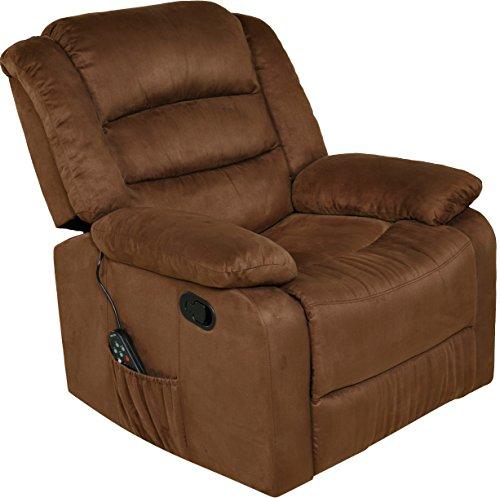 RelaxZen Longstreet Rocker Recliner with Massage, Heat and Dual USB ports, Brown