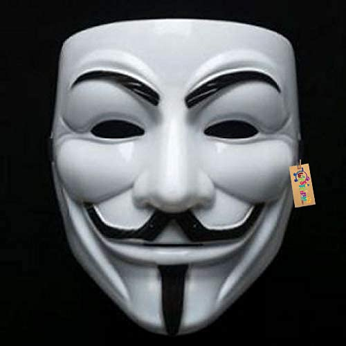 Western Era Vendetta Comic Face Mask Anonymous Guy Fawkes (White, 7.68 x 6.3 Inches)