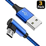 Micro USB Cable 90 Degree Right Angle [3 Pack / 10FT] Fast Charging Cable Quick Charger, CTREEY High Speed Android Charging Cords for Galaxy S7 S6 J8 J7 Note 5,Kindle,LG,PS4,Camera (Blue)