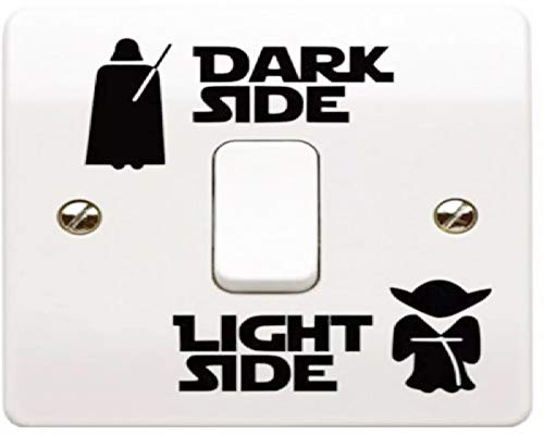 2 Sets Light Side - Dark Side Vinyl Sticker für Lichtschalter zum Aufkleben, schöne Dekoration fürs Kinderzimmer, Fans oder für die Wand als Tatoo, Highlight für Kinderzimmer oder Bad