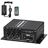 Facmogu AK370 HI-FI Stereo Audio Power Amplifier, Dual Channel Amp Sound Speaker Bluetooth with 12V 3A Power Supply, Bass & Treble Control Home Audio Player Amp Speaker with Remote Control