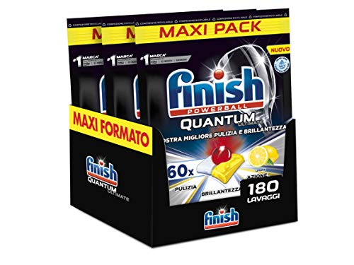 Finish, 180 Pastiglie Per Lavastoviglie, Quantum Ultimate, 3 Confezioni Da 60 Pastiglie, Limone - 2520 Gr