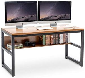 TOPSKY 55' Computer Desk with Bookshelf/Metal Desk Grommet Hole Cable Cover Oak_Brown