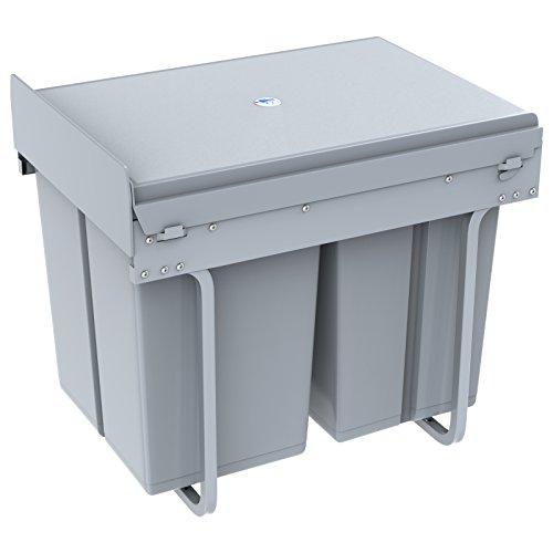1home Recycling Mülltrennsysteme Swing Abfalleimer Treteimer ab 300 mm Schrankbreite Mülleimer Abfallsammler Trennsystem 40 Liter Tretfunktion Schrankbodenmontage