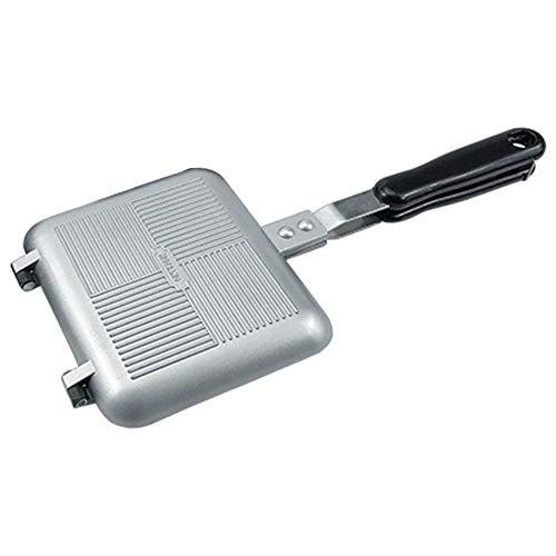 MANTFX Quadratische Doppelseitige Bratpfanne, Antihaft-Beschichtungspfanne Toastie Maker Mit Hitzebeständigem Griff, Frühstücksherd-Toaster Für Indoor-Outdoor-Camping-Sandwich (Silber)