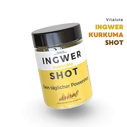 Ingwer Shot mit Kurkuma - die umweltfreundliche Wahl mit 30 Shots pro Dose - Trinkpulver mit Ingwer, Curcumin, Cayenne, Zink, Vitamin C & Vegan