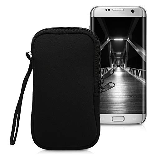 kwmobile Custodia in neoprene con zip per Smartphone L - 6,5' - Astuccio portacellulare a sacchetto con cerniera - Borsa verticale - nero