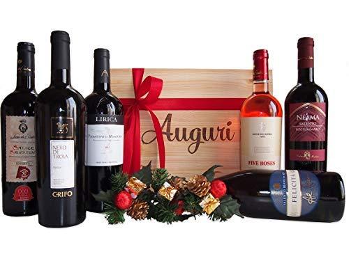 Cassetta Regalo Auguri Assortimento Vini di Qualit dalla Puglia - Selettivo Regalo Cassette Vini per Occasioni Importanti - cod 77