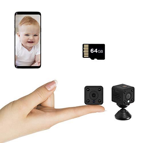 Insygrow  Mini Telecamera Wifi Scheda Sd 64 Gb Inclusa Microcamera Con Visione Notturna Portatile Camera Wifi Da Interno Con Rilevamento Di Movimento Videocamera Sorveglianza Senza Fili Da Esterno