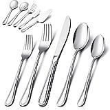 65-Piece Silverware Set with Serving Utensil, E-far Stainless Steel Modern Flatware Cutlery Set...