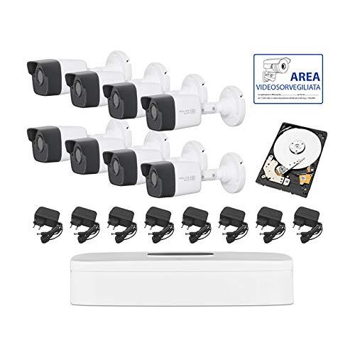 GENERAL TRADES Kit Videoregistrazione per Videosorveglianza 8 Telecamere 5 mpx 2.8mm P2P HDD 1 tb