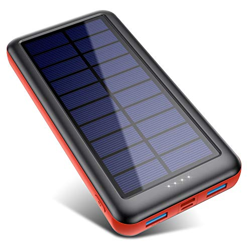 SWEYE Batterie Externe Solaire 26800mAh【Type-C Charge Rapide】, Chargeur Solaire Portable avec 2...