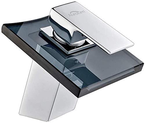 Auralum Badarmatur Wasserhahn Waschtischarmatur aus Glas, Grau Waschbecken Einhandmischer Armatur mit Wasserfall Mischbatterie Waschtisch, Einhebelmischer fürs Bad, Chrom