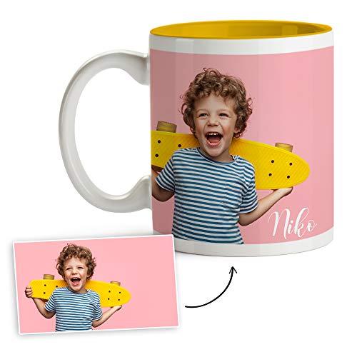 Fotoprix Tazas Personalizadas con Foto y Texto   Regalos Personalizados con Foto   Taza Personalizada con Nombre   Taza de Color Amarillo