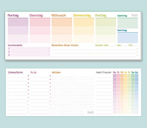 Wochenplaner Block ohne festes Datum [Rainbow] 50 Blatt   Tischkalender quer inkl. Terminplaner, Wochenziele, Habit-Tracker, To-Do-Liste, Einkaufsliste, Notizen   klimaneutral & nachhaltig