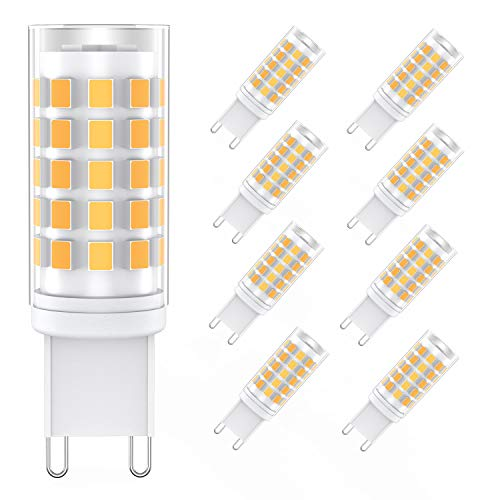 G9 Lampadina LED 6W (8 Pezzi), 54-LED SMD 2835 Lampade LED G9, 400LM Equivalente 80W Lampada Alogena, Angolo a fascio 360 Non Dimmerabile, Bianco Caldo 3000K [Classe di efficienza energetica A++]