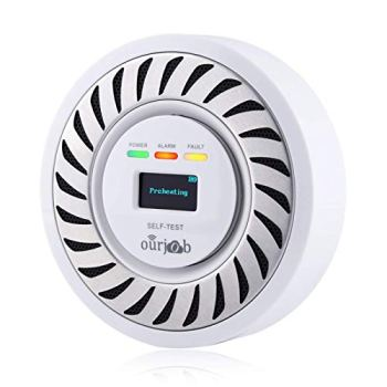 CO Alarme Détecteurs de monoxyde de Carbone, électrochimique CO Détecteur de gaz Toxique, Moniteur USB à monoxyde de Carbone avec Affichage numérique OLED pour la Maison/Garage/Caravane (Blanc)