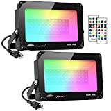 Onforu 2 Pack 100W Color Changing Flood Light, RGB Flood Light with Remote Control, Indoor Outdoor IP66 Waterproof Dimmable Colored LED Floodlight, Wall Washer Light with Timer and Memory Function