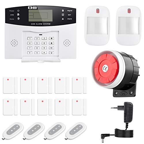 Thustand Système d'alarme GSM sans fil Contrôle à distance par Call/SMS – Kit alarme antivol maison DIY avec capteur porte/détecteur de mouvement PIR/télécommande pour maison/magasin