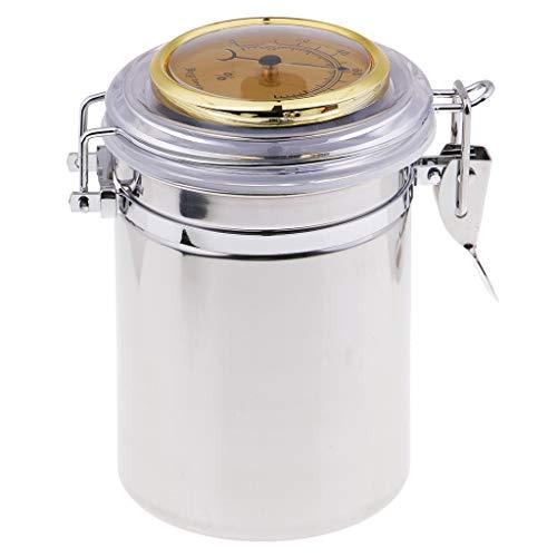 たばこ 煙草缶 手巻き タバコケース 大容量 吸湿可能 ステンレス 湿度計 シルバー