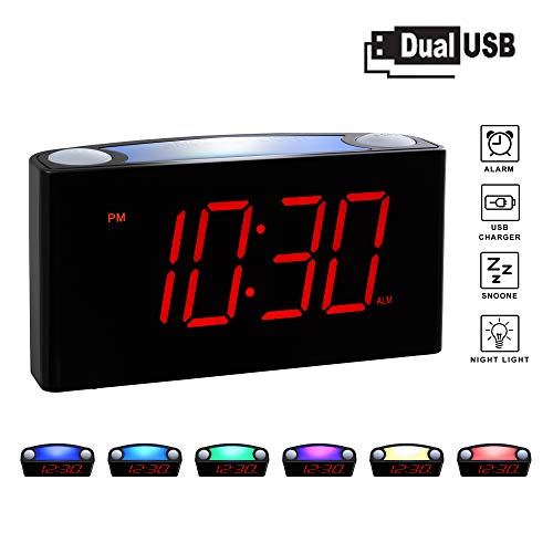Rocam Home LED Digital Alarm Clock - 6.5' Large Red Display, Loud Alarm, 7 Colored Night Light, Snooze, Dimmer, Dual USB Charger Ports, Battery Backup, 12/24 Hours for Bedrooms, Kids, Heavy Sleepers