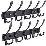 Dseap Coat Rack Wall Mounted - 5 Tri Hooks, Heavy Duty, Stainless Steel, Metal Coat Hook Rail for Coat Hat Towel Purse Robes Mudroom Bathroom Entryway (Black, 2 Packs)