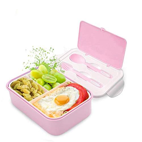 Fambrera Infantil, Lunch Box, Fiambrera con 3 Compartimientos, Cuchara Tenedor Lonchera, Bento Box Sostenible, para Microondas y Lavavajillas. (Rosado-A)