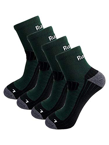 Peak Endurance Running Socks, (4 pairs) COOLMAX Fabric, Moisture Wicking, Durable, Anti Blister & Lightweight, Unisex, Small - Large, Green & Black (Medium- Large)